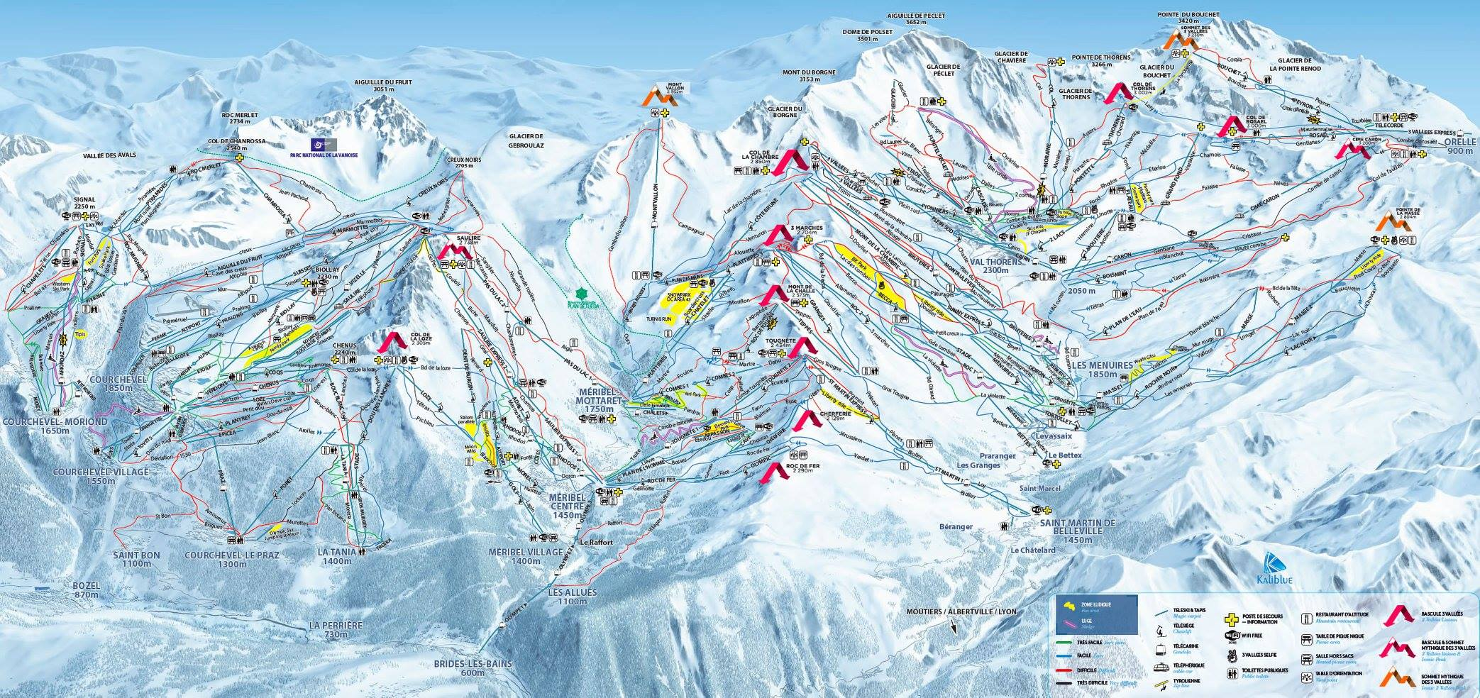 Maps Piste Maps of Meribel Merinetcom